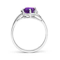 Toggle Amethyst and Diamond Split Shank Ring