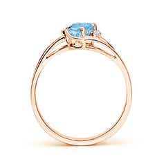Toggle Aquamarine and Diamond Split Shank Ring