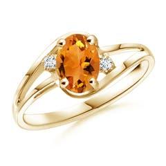 Citrine and Diamond Split Shank Ring