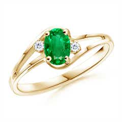 Split Shank Solitaire Oval Emerald and Diamond Ring