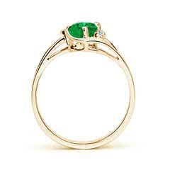 Toggle Emerald and Diamond Split Shank Ring
