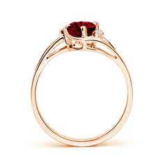 Toggle Garnet and Diamond Split Shank Ring