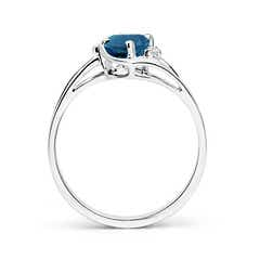 Toggle London Blue Topaz and Diamond Split Shank Ring