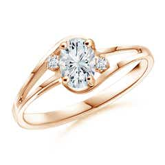 Split Shank Solitaire Oval Moissanite Ring