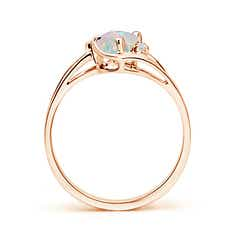 Split Shank Solitaire Cabochon Opal and Diamond Ring