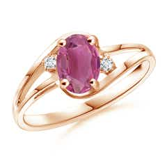 Split Shank Solitaire Oval Pink Tourmaline and Diamond Ring