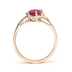 Toggle Pink Tourmaline and Diamond Split Shank Ring