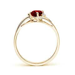 Split Shank Solitaire Oval Ruby and Diamond Ring