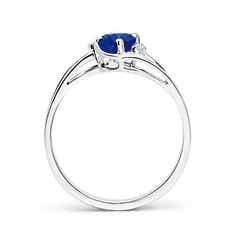 Toggle Blue Sapphire and Diamond Split Shank Ring