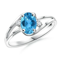 Split Shank Solitaire Oval Swiss Blue Topaz and Diamond Ring
