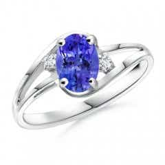 Split Shank Solitaire Oval Tanzanite and Diamond Ring