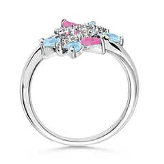 Butterfly Design Aquamarine & Pink Sapphire Bypass Ring