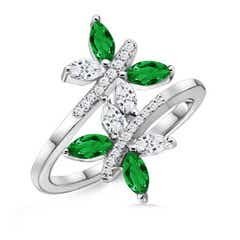 Emerald and Diamond Butterfly Bypass Ring