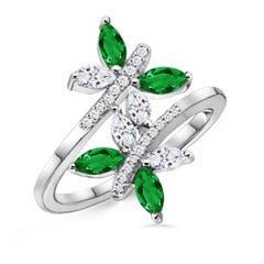 Butterfly Design Emerald & Diamond Bypass Ring