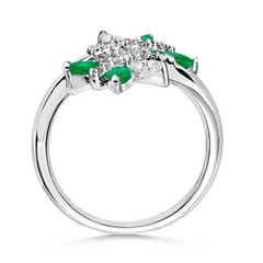 Toggle Emerald and Diamond Butterfly Bypass Ring