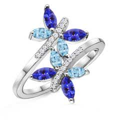Aquamarine and Tanzanite Butterfly Bypass Ring