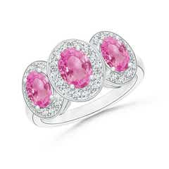 Classic Halo Three Stone Pink Sapphire Ring