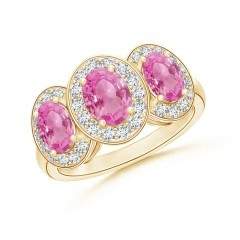 Classic Three Stone Pink Sapphire Ring with Diamond Halo