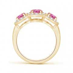 Toggle Classic Three Stone Pink Sapphire Ring with Diamond Halo