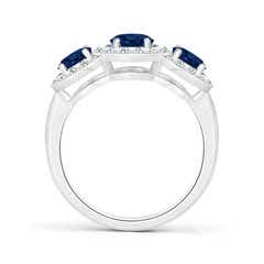 Toggle Classic Three Stone Blue Sapphire Ring with Diamond Halo
