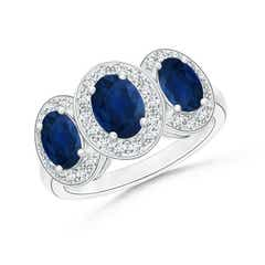 Classic Three Stone Blue Sapphire Ring with Diamond Halo