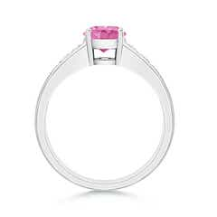Toggle Solitaire Round Pink Sapphire Ring with Diamond Accents