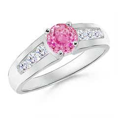 Solitaire Round Pink Sapphire Ring with Diamond Accents