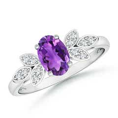 Vintage Oval Solitaire Amethyst Ring with Diamond Accents