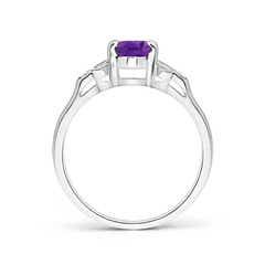 Toggle Vintage Style Oval Amethyst Ring with Diamond Accents