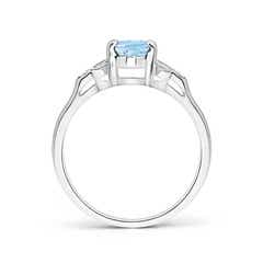 Toggle Vintage Style Oval Aquamarine Ring with Diamond Accents