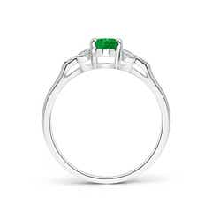Toggle Vintage Style Oval Emerald Ring with Diamond Accents