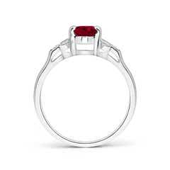 Toggle Vintage Style Oval Garnet Ring with Diamond Accents