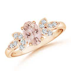 Vintage Oval Solitaire Morganite Ring with Diamond Accents