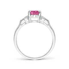 Toggle Vintage Style Oval Pink Sapphire Ring with Diamond Accents