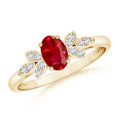 Vintage Style Oval Ruby Ring with Diamond Accents