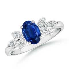 Vintage Style Oval Blue Sapphire Ring with Diamond Accents