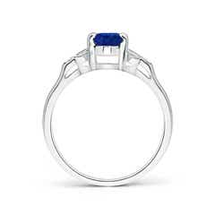Toggle Vintage Style Oval Blue Sapphire Ring with Diamond Accents