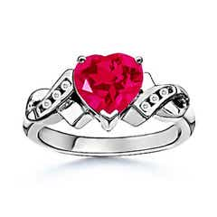 Heart Lab Created Ruby Crossover Ring with Diamond Accent