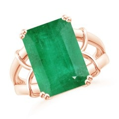 GIA Certified Octagonal Emerald Split Shank Ring
