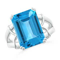 Octagonal Swiss Blue Topaz Split Shank Ring