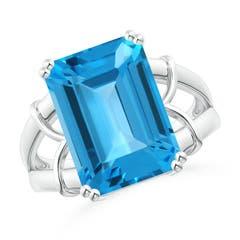 Split Shank Emerald Cut Swiss Blue Topaz Cocktail Ring