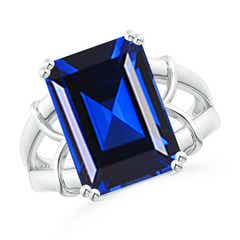 Split Shank Emerald Cut Lab Sapphire Cocktail Ring
