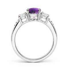 Toggle Three Stone Amethyst and Diamond Ring