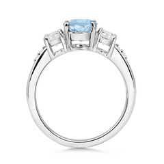 Toggle Three Stone Aquamarine and Diamond Ring
