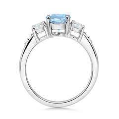 Toggle Three Stone Aquamarine and Diamond Ring