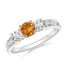 Three Stone Citrine and Diamond Ring