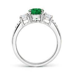 Toggle Three Stone Emerald and Diamond Ring