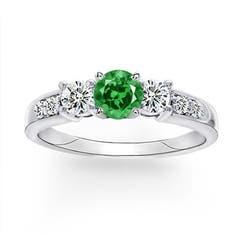 Three Stone Lab Created Emerald and Diamond Ring