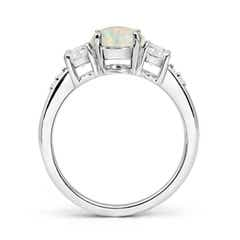 Toggle Three Stone Opal and Diamond Ring