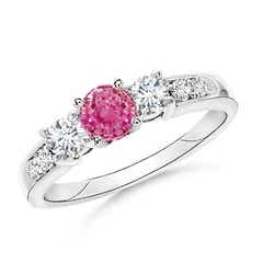 Three Stone Pink Sapphire and Diamond Ring